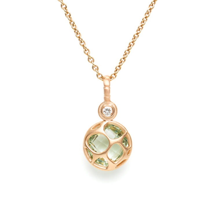Green Quartz & Diamond Necklace