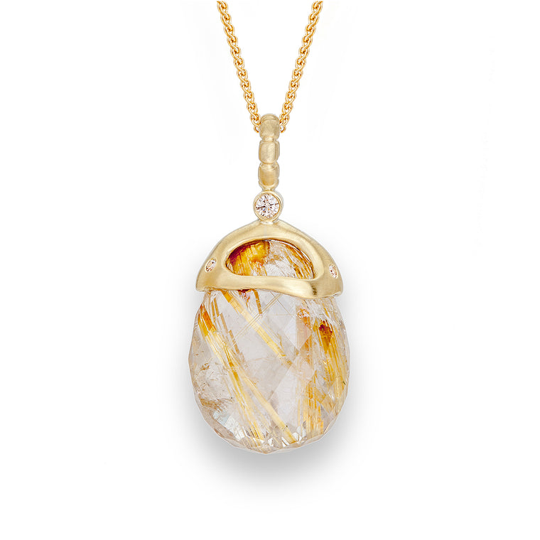 Rutile Quartz & Diamond Necklace