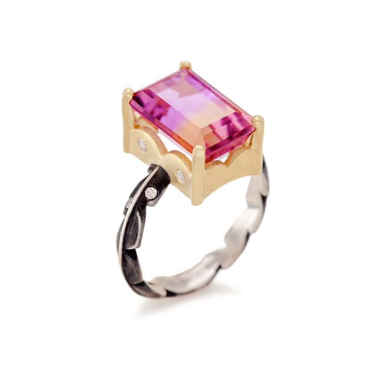 Ametrine & Diamond Sweet Fern Ring
