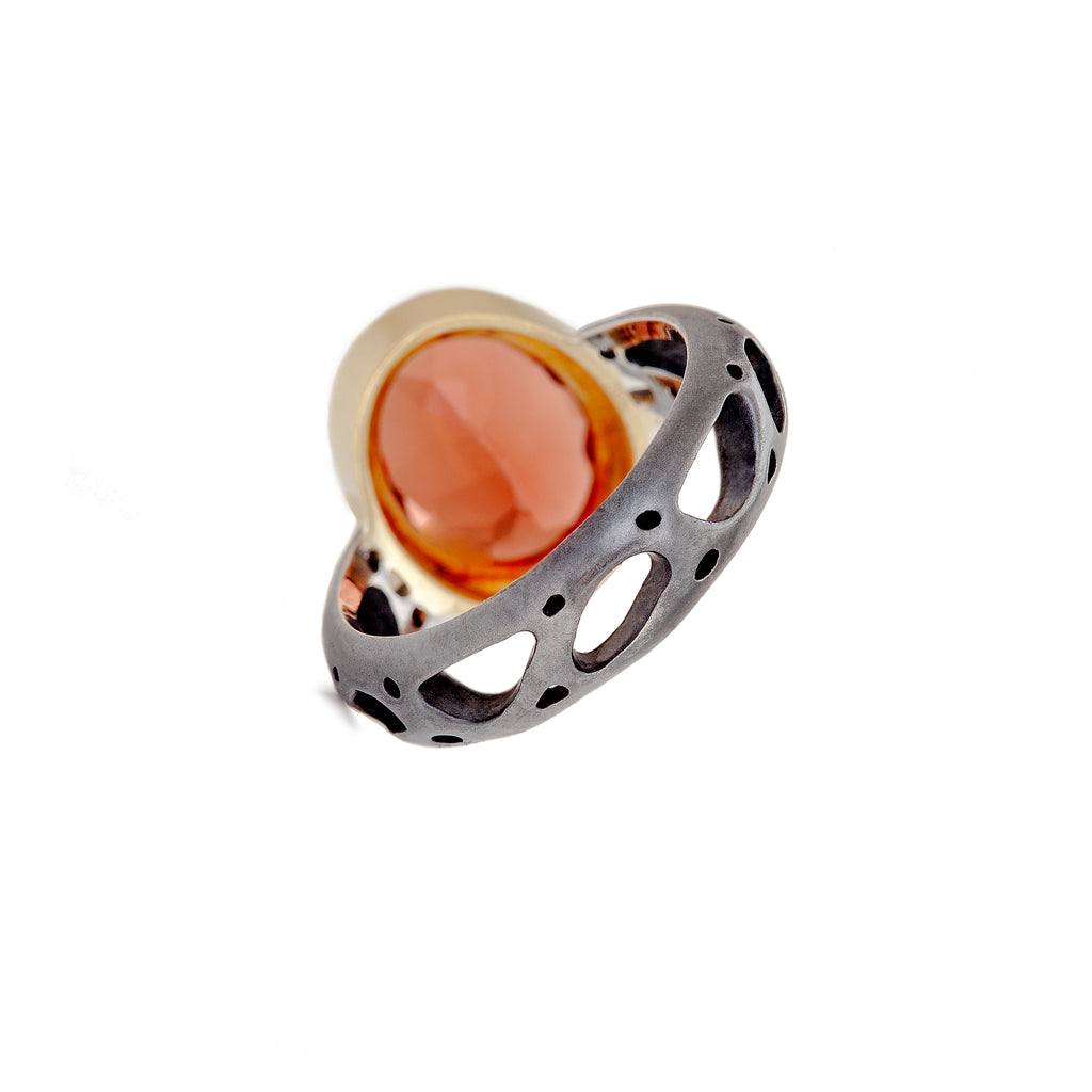 Orange Labradorite & Diamond Ring