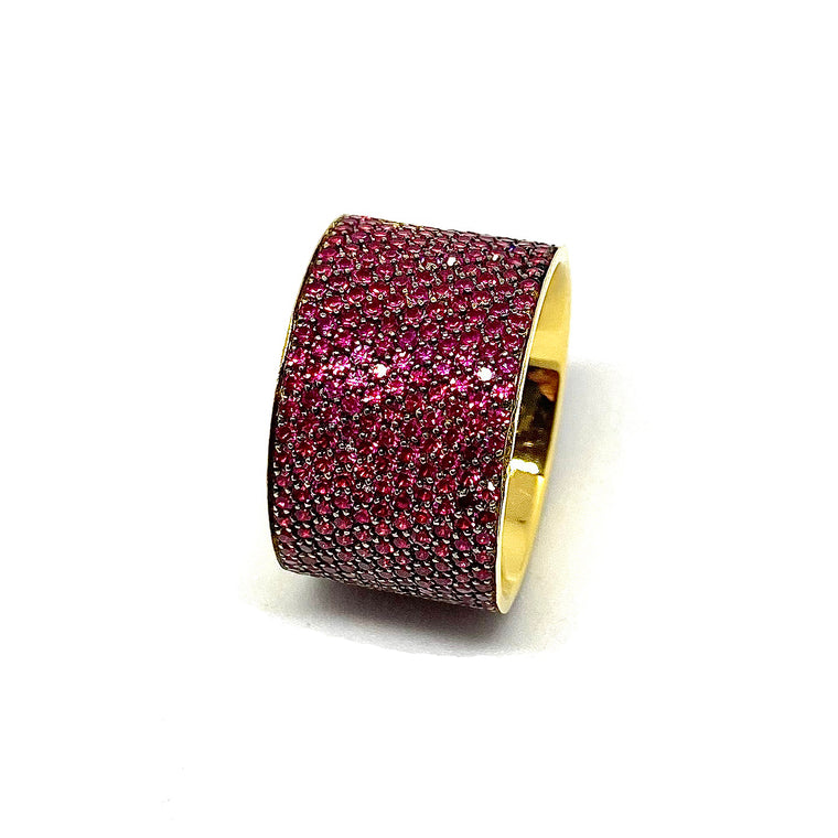 """Rivière"" Ruby & Gold Band"