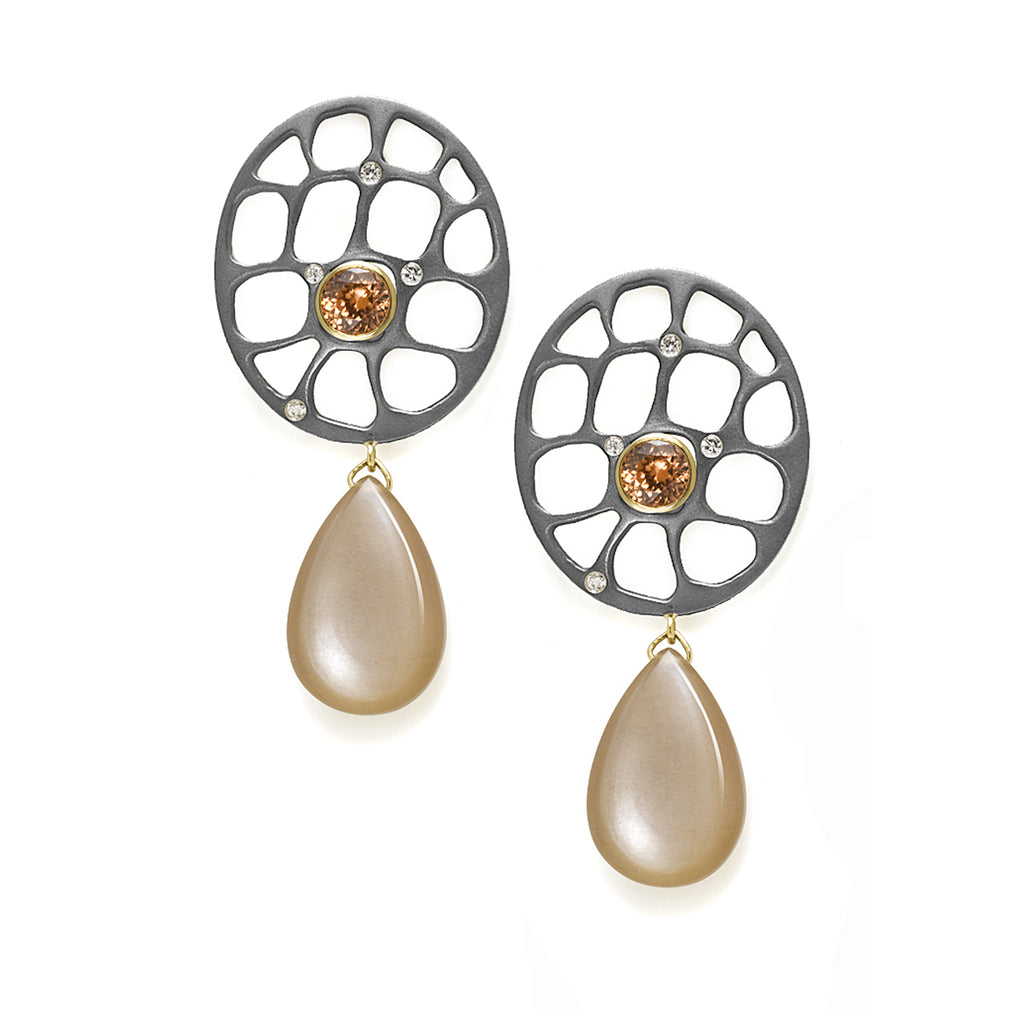 Zircon, Moonstone & Diamond Earrings