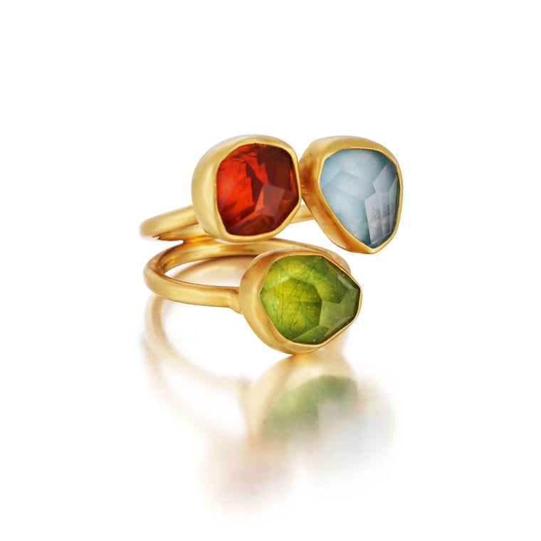 Gold, Silver & Color Gems Ring
