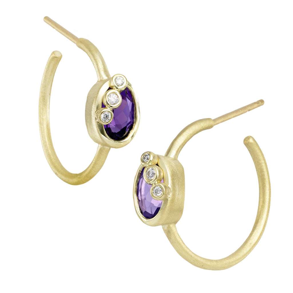 Throwing Stones Hoop Earrings Amethyst & Diamonds
