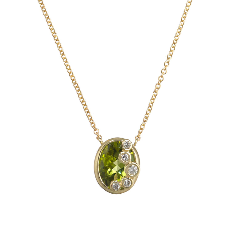Throwing Stones Necklace Peridot & Diamonds
