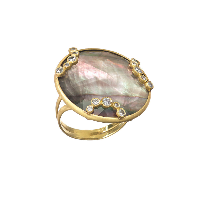 Throwing Stones Ring Black Mother of Pearl & Diamonds