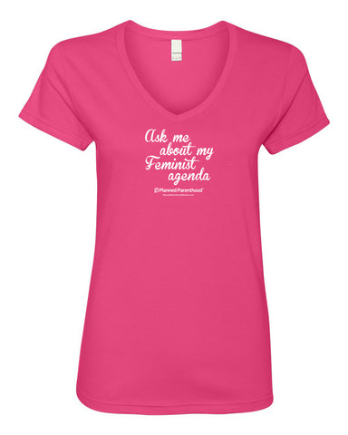 Feminist Agenda Hot Pink Ladies V-neck T