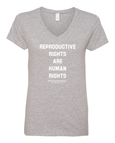 Repro Rights Grey Ladies V-neck T