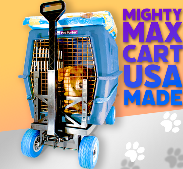 mighty max cart pet carrier wheels multi-purpose blue cart
