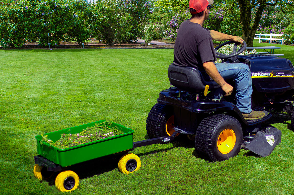 Multi-Purpose Double Decker Poly Garden Cart-Wagon | Green on Yellow USA Made