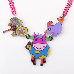 Colorful Cow Necklace
