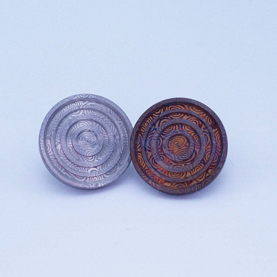 Heimskringla Damasteel 20mm Fidget Spinner Buttons