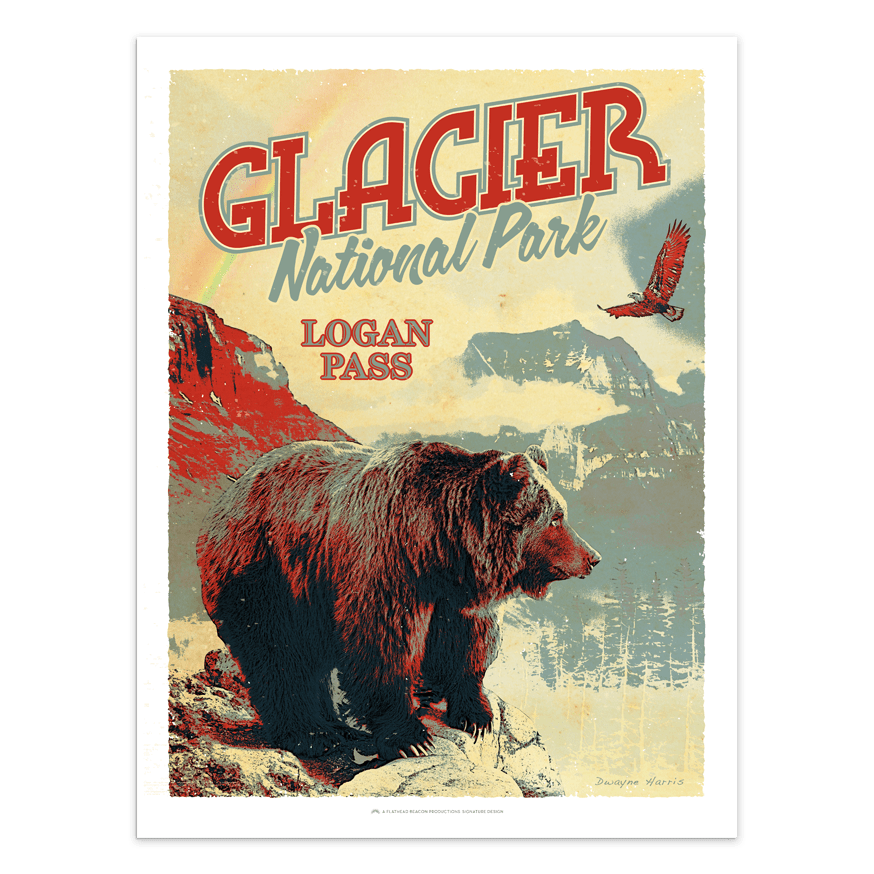 logan pass grizzly - glacier national park prints