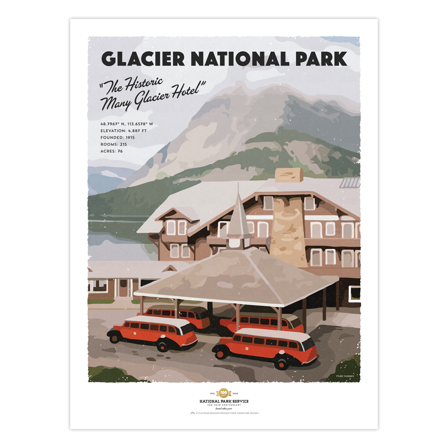 many glacier hotel - glacier national park prints