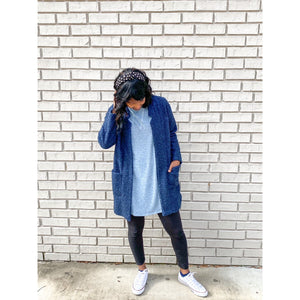 Light Blue T-Shirt Dress with Pockets