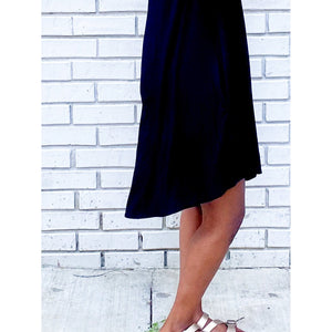 Black Black Sleeveless Dress with Pockets