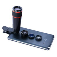 Universal Clip-On 12X Optical Zoom Telephoto Telescope Camera Lens Kit for iPhone & Android