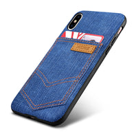 Fashionable Jean Leather Case with Outer Card Holder for iPhone X