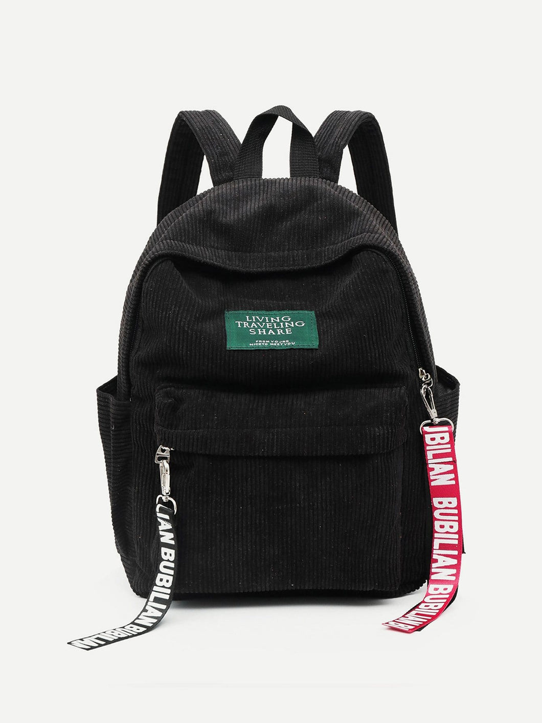 Slogan Ribbon Corduroy Backpack bags