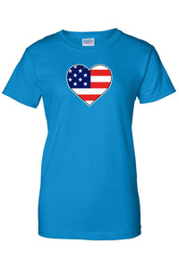 USA Flag T Shirt Love & Pride Women's Juniors Tee