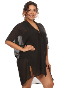Plus Size Women's Front Tie Beach Dress Cove Up Swimwear Made in USA