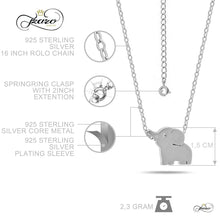 Load image into Gallery viewer, Small Elephant Necklace, 925 Sterling Silver, Silver Plated Mini Elephant Necklace
