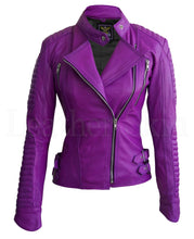 Load image into Gallery viewer, Women Purple Brando Pad Leather Jacket