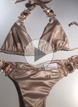 Load image into Gallery viewer, Tina Halter Top & Skimpy Bottom - Gold