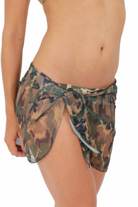 CAMO CAMOUFLAGE Sarong -Cover-up - Wrap - Pareo: Short Length