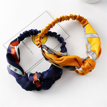Load image into Gallery viewer, Twist Cross Floral Elastic Knotted Headband