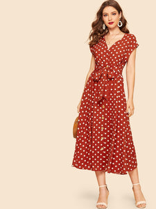 70s Self Tie Polka-dot Midi Dress