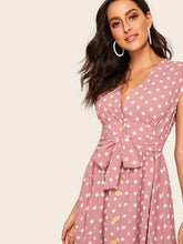 Load image into Gallery viewer, 70s Self Tie Polka-dot Midi Dress