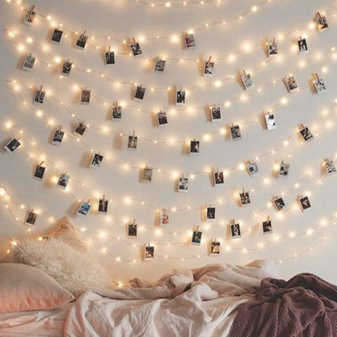 LED String Fairy Lights Warm White with Cristal Clear Clips