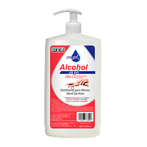 ALCOHOL EN GEL - BOTELLA DE 33.8 OZ (1 LITRO) CON BOMBA DISPENSADORA