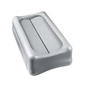 -TAPA PLASTICA BASCULANTE PARA BASURERO RECTANGULAR; GRIS; RUBBERMAID No.FG267360GRAY.