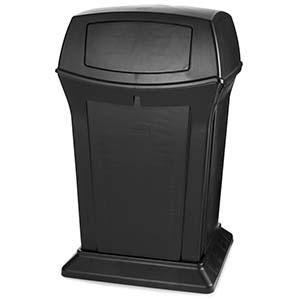 -BASURERO DECORATIVO POLIETILENO 45 GL. NEGRO, RUBBERMAID No. FG917188BLA.
