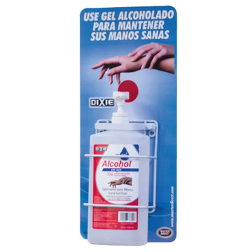 "SOPORTE DE PARED BOTELLA OVAL 1 LITRO DE ALCOHOL EN GEL CON LEYENDA ""USE PARA MANTENER MANOS SANAS"""