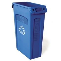 -BASURERO PLASTICO RECTANGULAR 23 GALONES, AZUL, SLIM JIM RUBBERMAID No. FG354007BLUE.