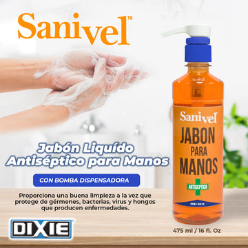 Sanivel Líquido - Botella 475 ml (16 oz) con Bomba Dispensadora.
