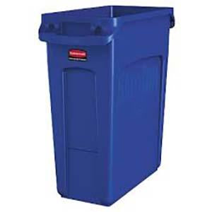 -BASURERO PLASTICO RECTANGULAR 16 GALONES, AZUL, SLIM JIM RUBBERMAID No. 1971257.