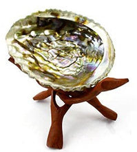Vrinda Wooden Tripod Abalone shell or Crystal ball Stand - 6 inch