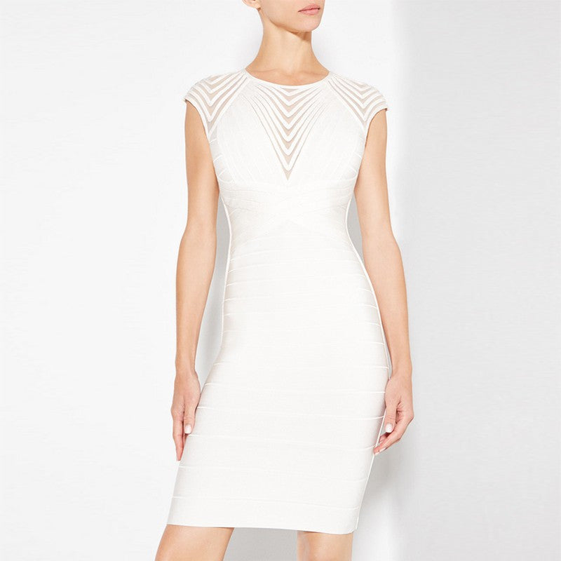 Ribbed Mesh Bandage Dress - Couture Stalker
