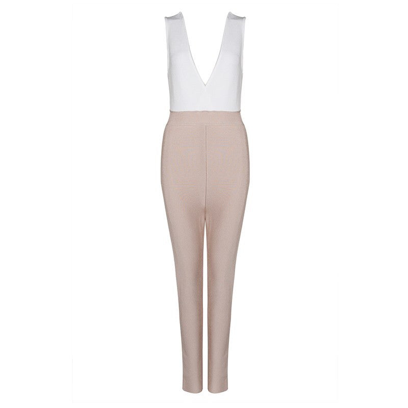 Two Tone Bandage Jumpsuit - Couture Stalker