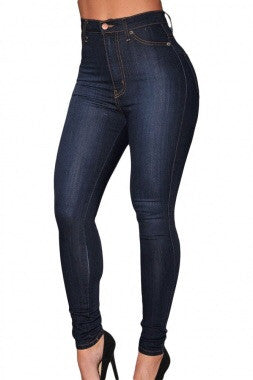 Dark Wash Denim High-Waist Skinny Jeans - Couture Stalker