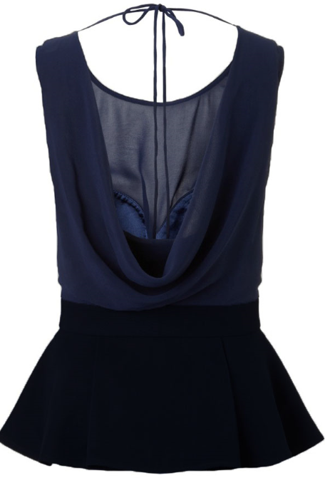 Cowl Drape Peplum Top - Couture Stalker