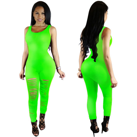 2016 Sexy Skinny Women Jumpsuits Tank Top Long Holes Bodycon Pants Ladies Romper