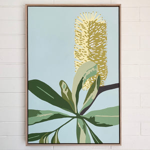 """Coastal Banksia"" - 24x36"" framed acrylic on canvas painting"