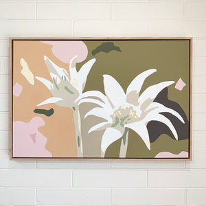 """Flannel Flowers"" - 36x24"" framed acrylic on canvas painting"