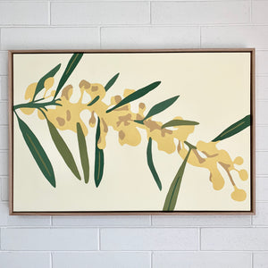 """Golden Wattle"" - 36x24"" framed acrylic on canvas painting"