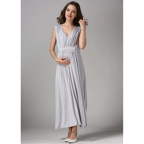 Empire Waist Maxi Gown Nursing Maternity Evening Dress (Nude/Silver/Magenta)